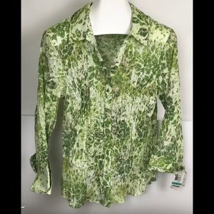 JM Collection Woman's Green Floral Blouse NWT 16